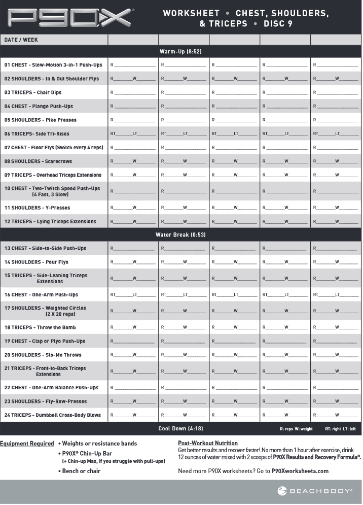 Beachbody Workout Sheets P90x – P90x Worksheets Pdf